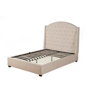 Everly Quinn Germann Poplar Wood Upholstered Panel Bed