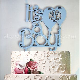 It's a Boy Wooden Cake Topper with Personalized Letter Monogram