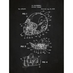 Sporting Goods U0027Modern Football Helmetu0027 Silk Screen Print Graphic Art In  Chalkboard/White