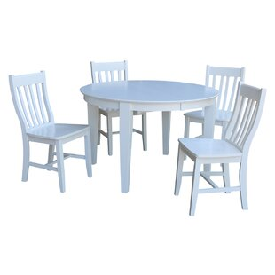 Romulus 5 Piece Extendable Solid Wood Dining Set August Grove