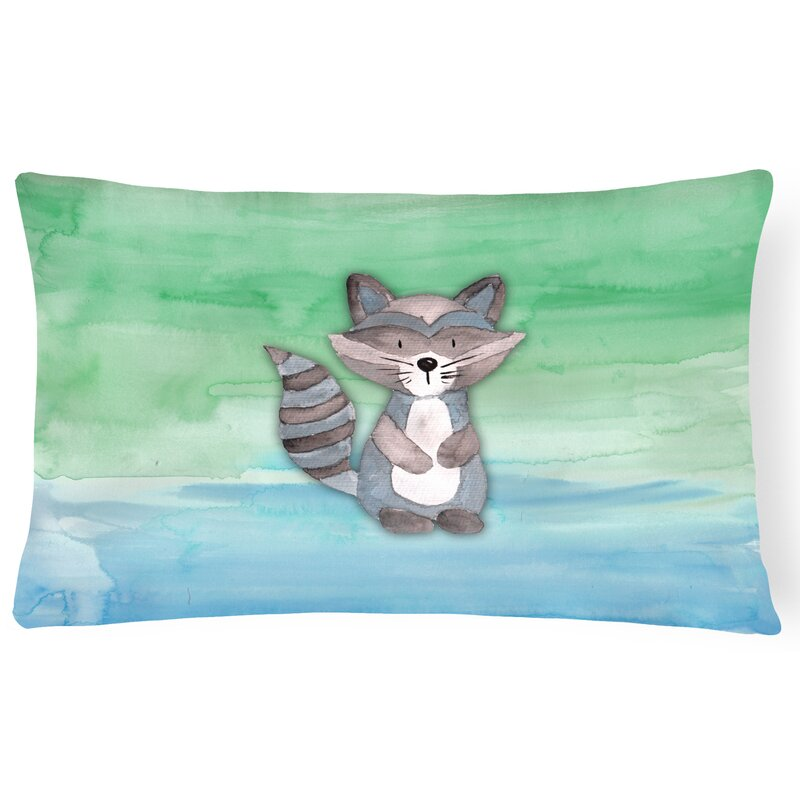 Zoomie Kids Virginia Raccoon Watercolor Lumbar Pillow Wayfair