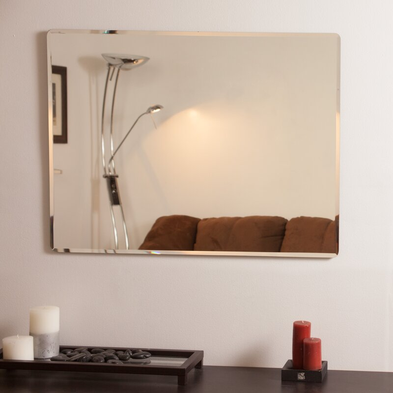 Andover Mills Rectangle Metal Frameless Wall Mirror Reviews Wayfair