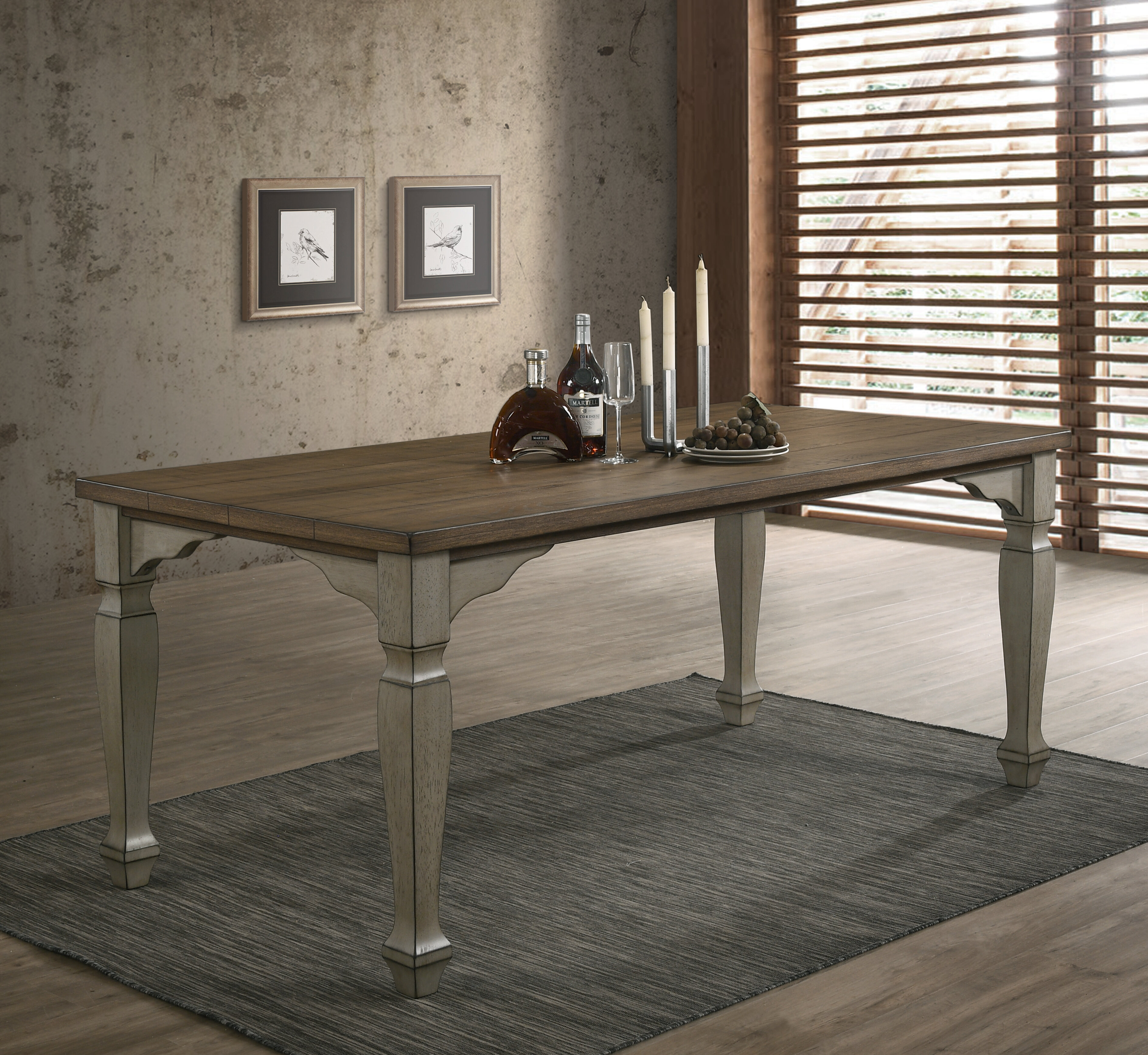 Remus Antique Grey And Dark Oak Finished Wood Dining Table