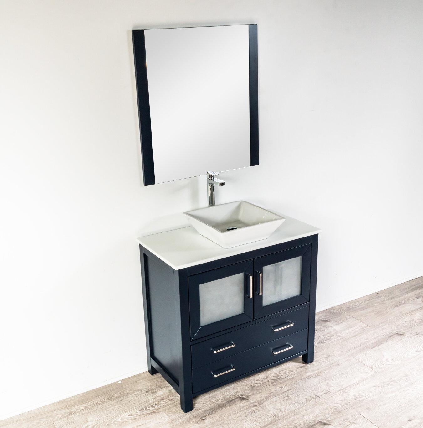 Wrought Studio Leena 35 Single Bathroom Vanity Set With Mirror Wayfair