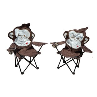 Marcus Monkey Folding Camping Kids Chair with Cup Holder (Set of 2) by Zoomie Kids