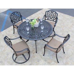 Weaubleau 5 Piece Dining Set with Cushions by Fleur De Lis Living