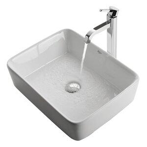 Ceramic Ceramic Rectangular Vessel Bathroom Sink with Faucet