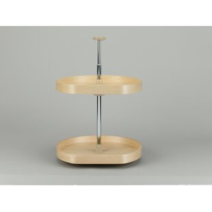 Rev-A-Shelf Banded Wood D Shape 2 Shelf Lazy Susan