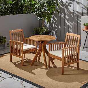 Figgs Patio 3 Piece Bistro Set with Cushions