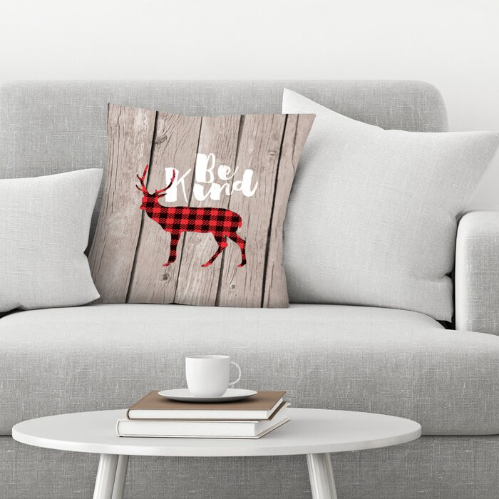 Brilliant Be Kind Deer Wood Throw Pillow Inzonedesignstudio Interior Chair Design Inzonedesignstudiocom