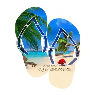 bedb5ab7d  Merry Christmas Beach Flip Flop  Graphic Art Print on Metal