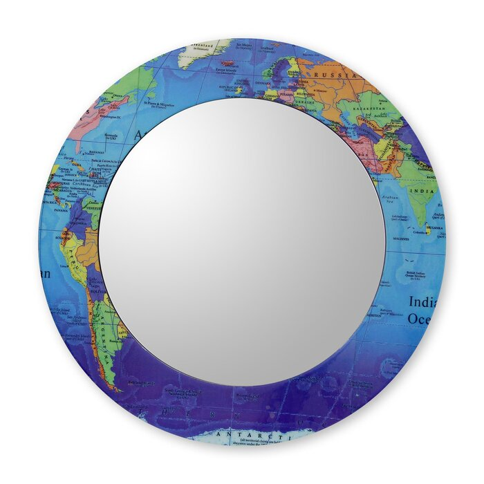 Novica around the world world map round mirror and frame crafted around the world world map round mirror and frame crafted by hand gumiabroncs Gallery