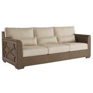 Gracie Oaks Astrid Wicker Patio Sofa with Cushions