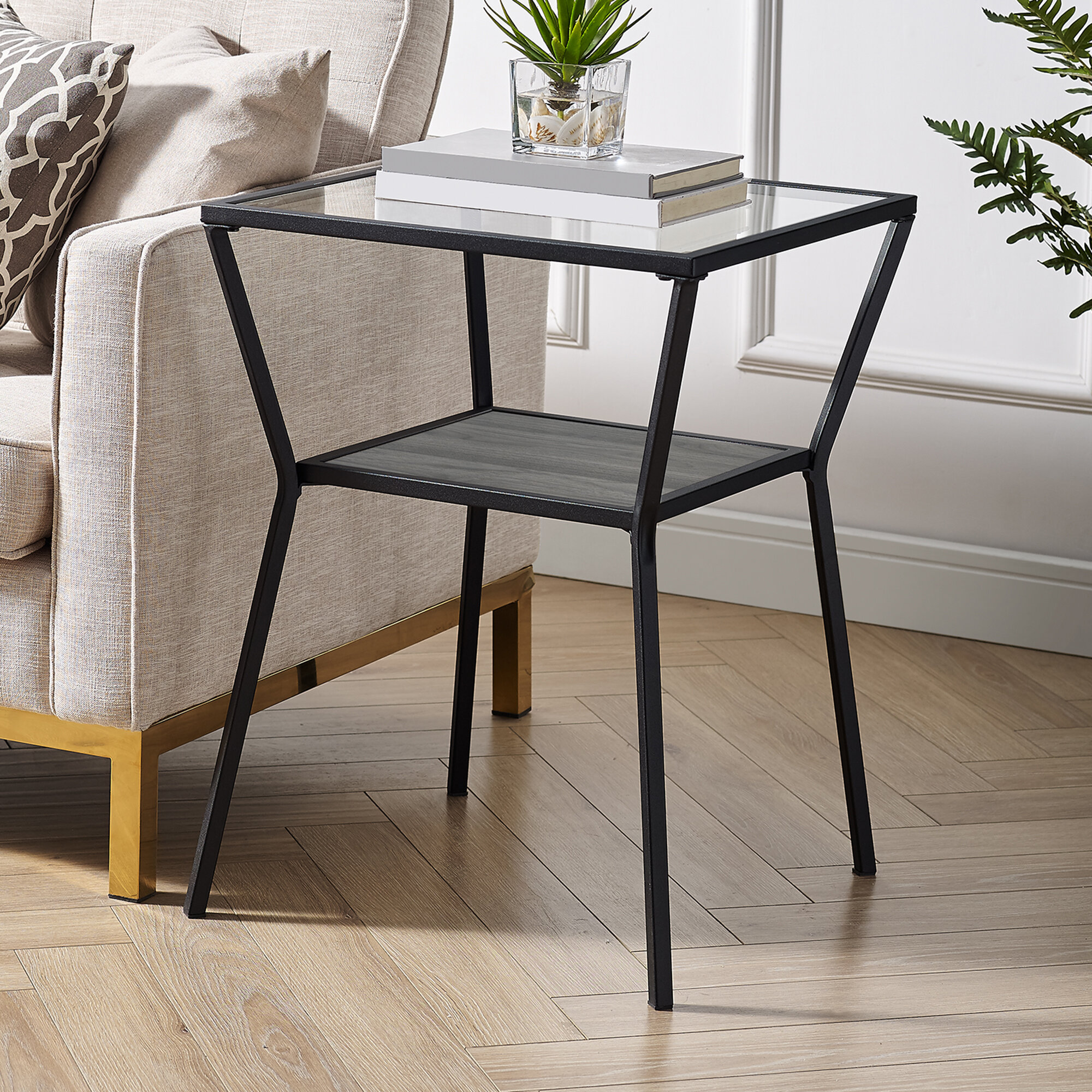 Williston Forge Howell Glass Top End Table Reviews Wayfair