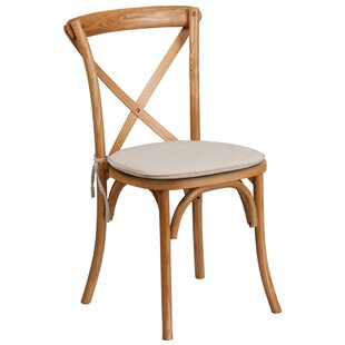Magpie Early American Cross Back Solid Wood Dining Chair with Cushion Gracie Oaks
