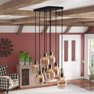 Pruett Cognac Glass 8-Light Cluster Pendant by Gracie Oaks