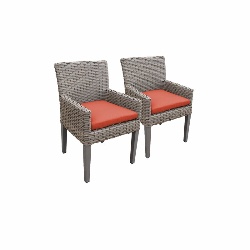 Sol 72 Outdoor  Rockport Patio Dining Chair with Cushion Cushion Color: Tangerine