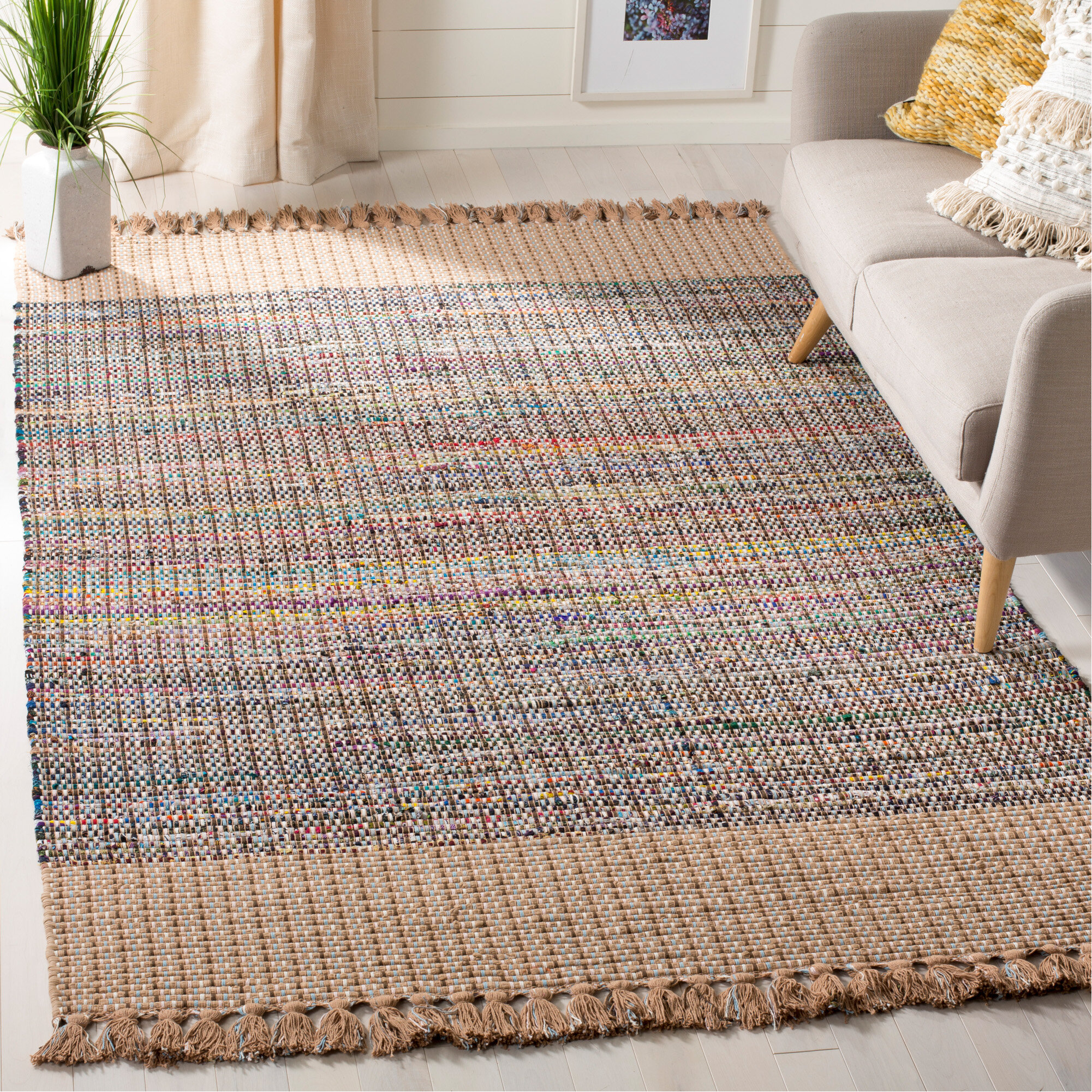 Mack Milo Apolaya Striped Hand Knotted Cotton Beige Gray Blue Area Rug Reviews Wayfair