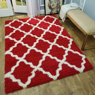 Buy clear Burns Trellis Red/White Area Rug By Zipcode Design
