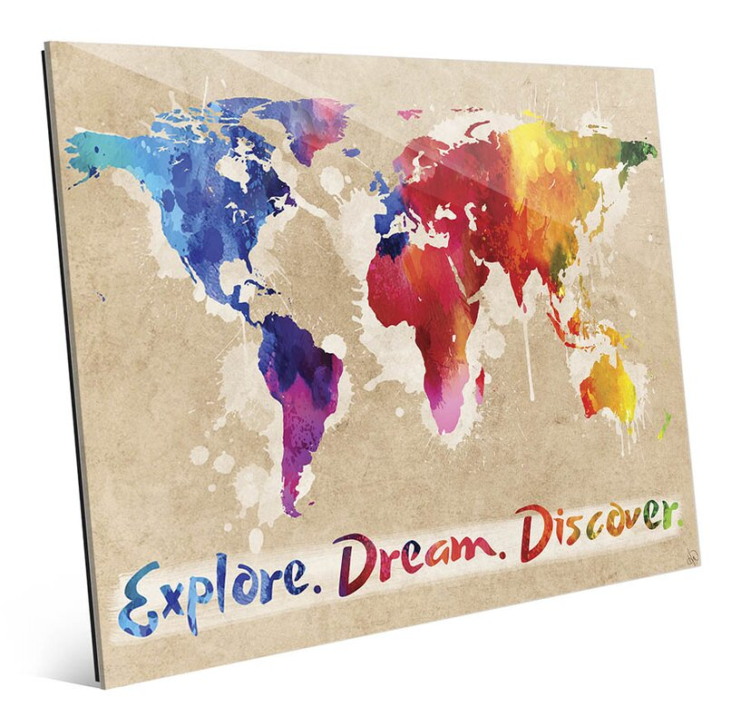 'Explore Dream Discover the World' Painting Print