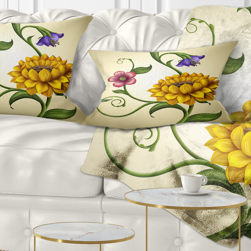 East Urban Home Floral Flowers And Leaves Illustration Lumbar Pillow Wayfair