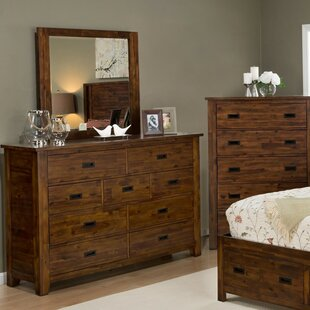Whitfield 9 Drawer Double Dresser with Mirror by Loon Peak