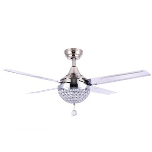 Aalin 4 Blade LED Ceiling Fan with Remote, Light Kit Included by House of Hampton