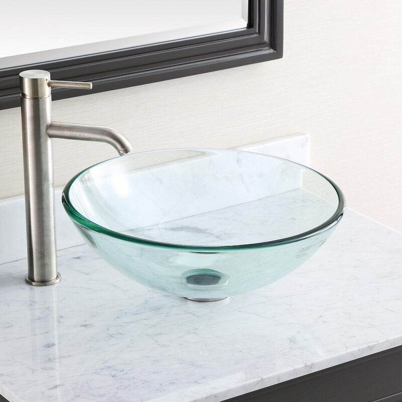 Avanity Tempered Glass Circular Vessel Bathroom Sink With Overflow Reviews Perigold