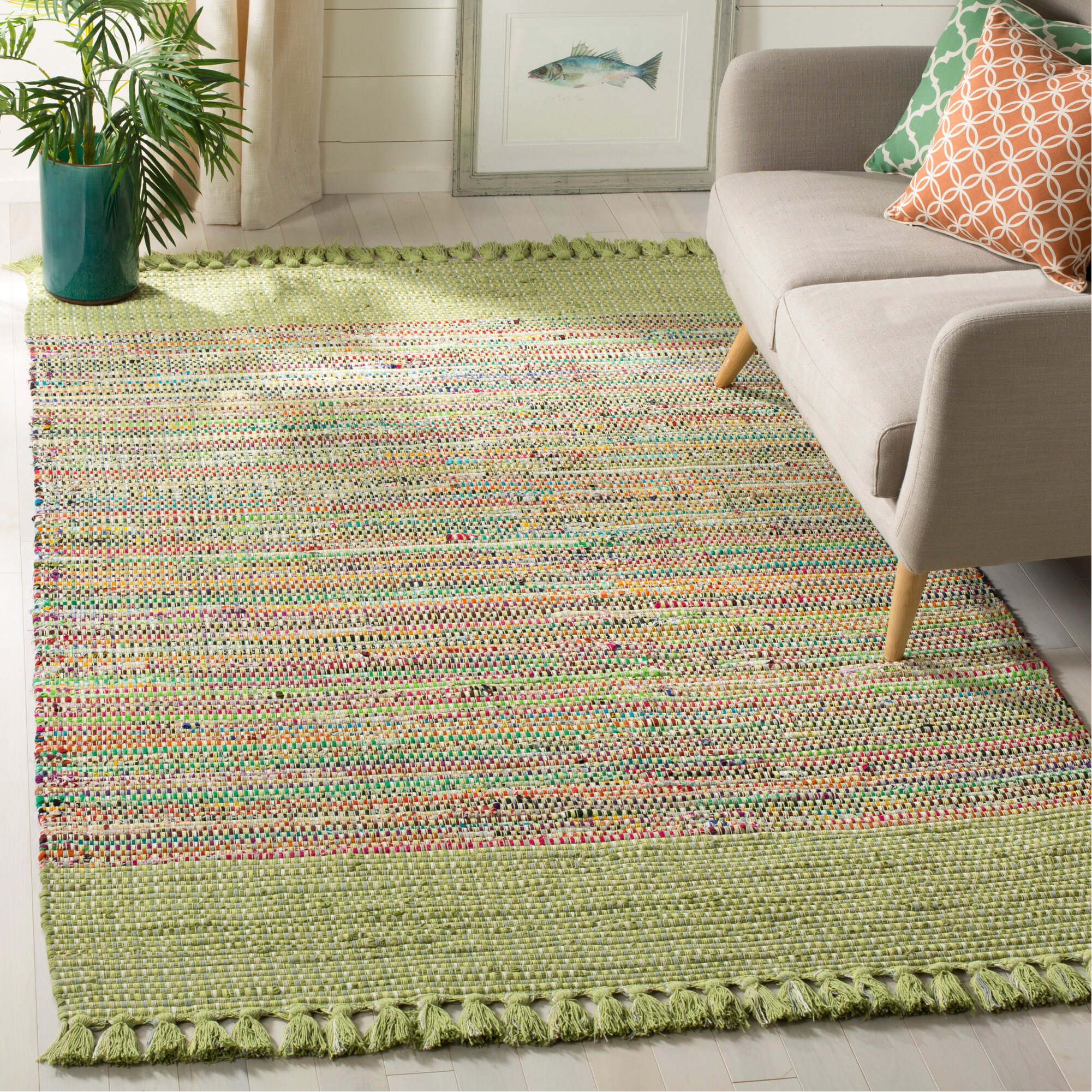 Mack Milo Apolaya Abstract Hand Knotted Cotton Green Gray Blue Area Rug Reviews Wayfair