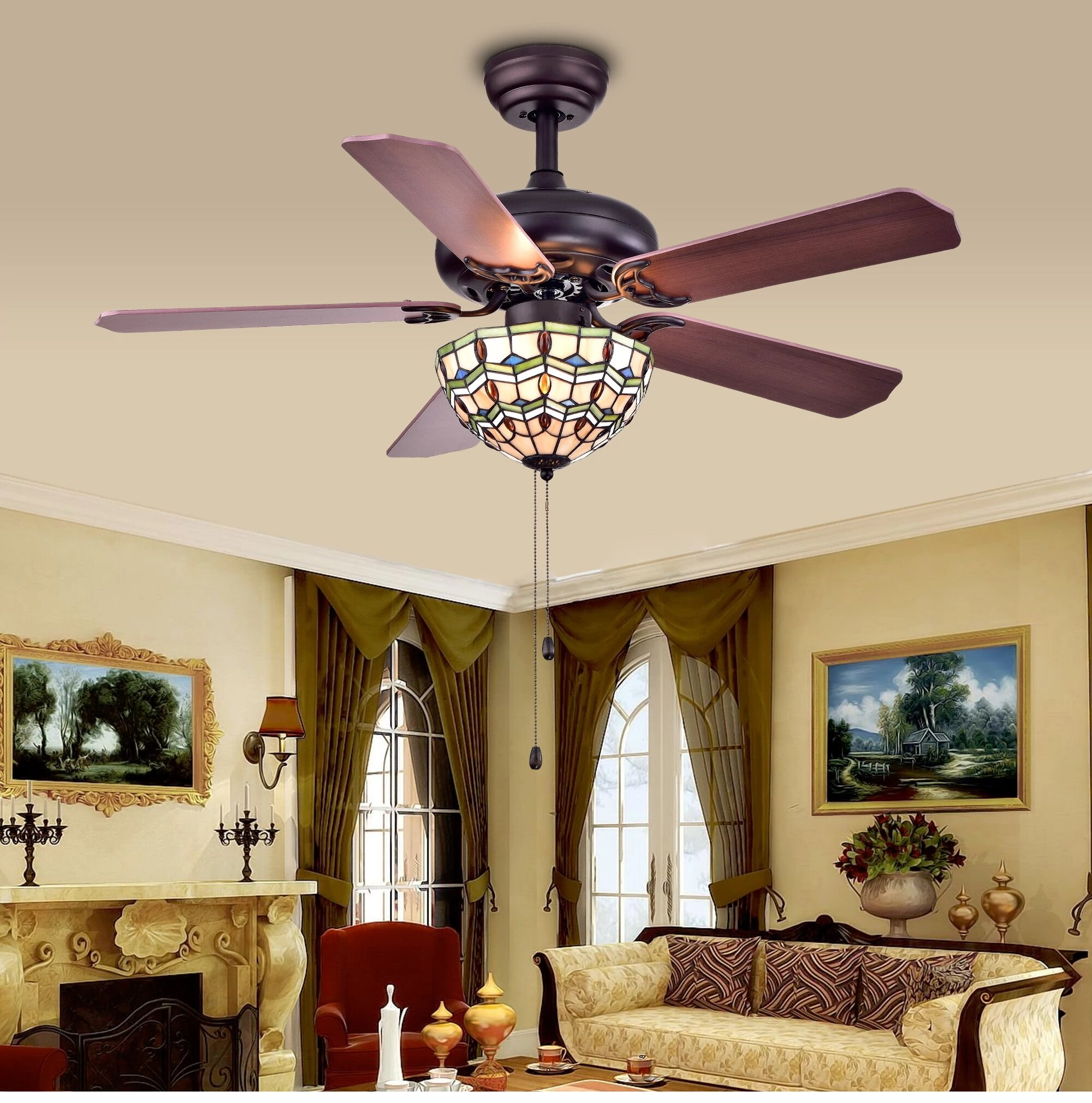 Warehouse of Tiffany Doretta 3 Light Bowl Ceiling Fan Light Kit