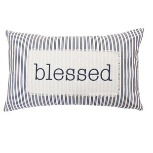 Millar Blessed Ticking Stripe Cotton Lumbar Pillow
