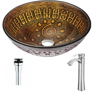Compare & Buy Opus Glass Circular Vessel Bathroom Sink with Faucet By ANZZI