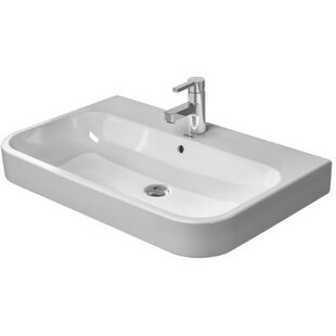 Read Reviews Happy D. Ceramic 32 Wall Mount Bathroom Sink with Overflow By Duravit