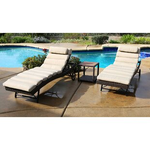 Leake 3 Piece Chaise Lounge Set with Cushion