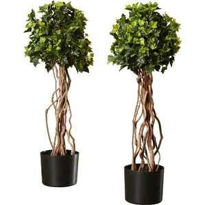 artificial english ivy topiary tree in pot set of 2