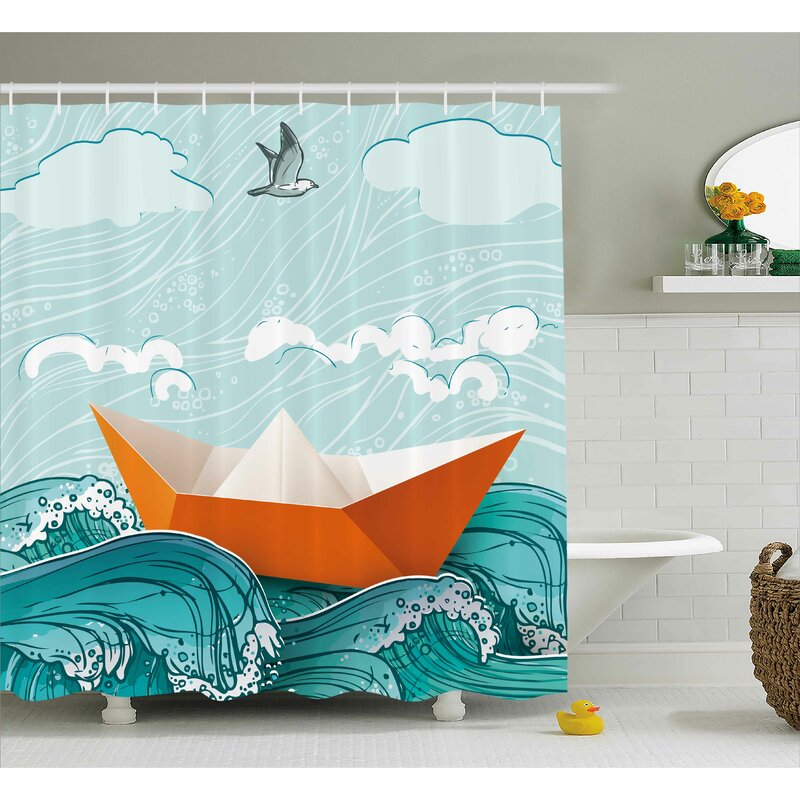 Paper Sail Ship Shower Curtain