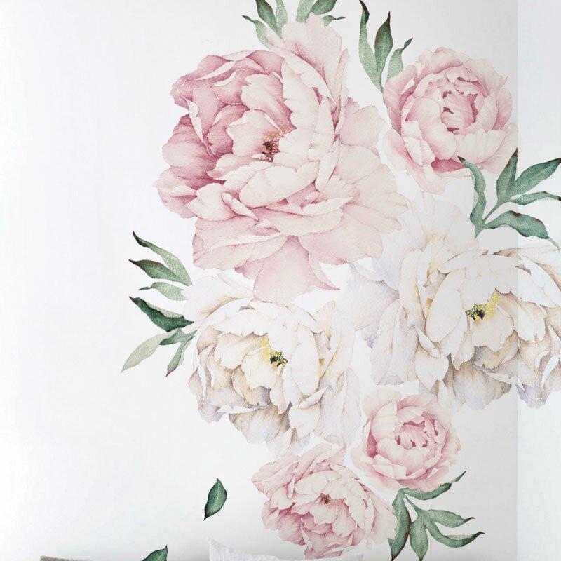 simpleshapes peony flowers wall decal & reviews | wayfair.ca