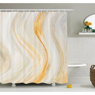 Affordable Price Psychedelic Wavy Brushstroke Marble with Blurry Splash Effects Art Decor Shower Curtain Set ByEast Urban Home