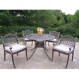 Oakland Living Elite 5 Piece Dining Set with Cushions