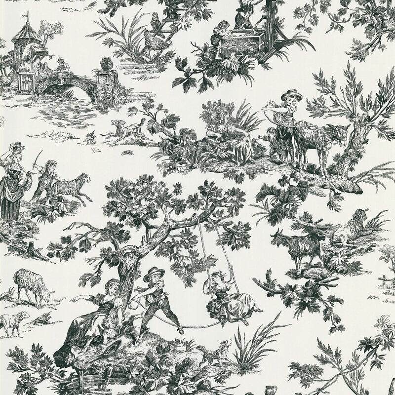 "Ink 33' x 20.5"" Toile 3D Embossed Wallpaper Roll"
