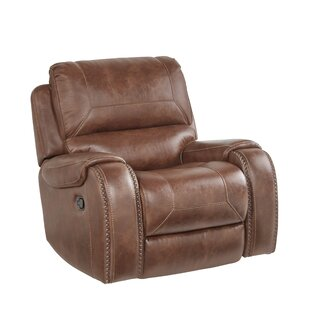 Stampley Leather Air Nailhead Swivel Glider Recliner by Millwood Pines