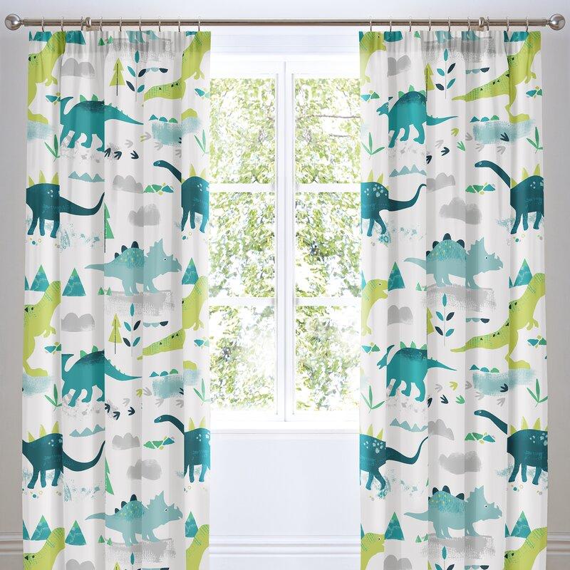 Dinosaur Pleat Room Darkening Curtains