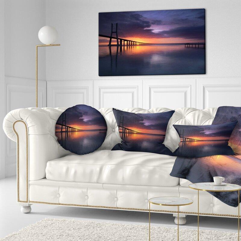 East Urban Home Pier Seascape Vasco Da Gama Bridge Portugal Lumbar Pillow Wayfair