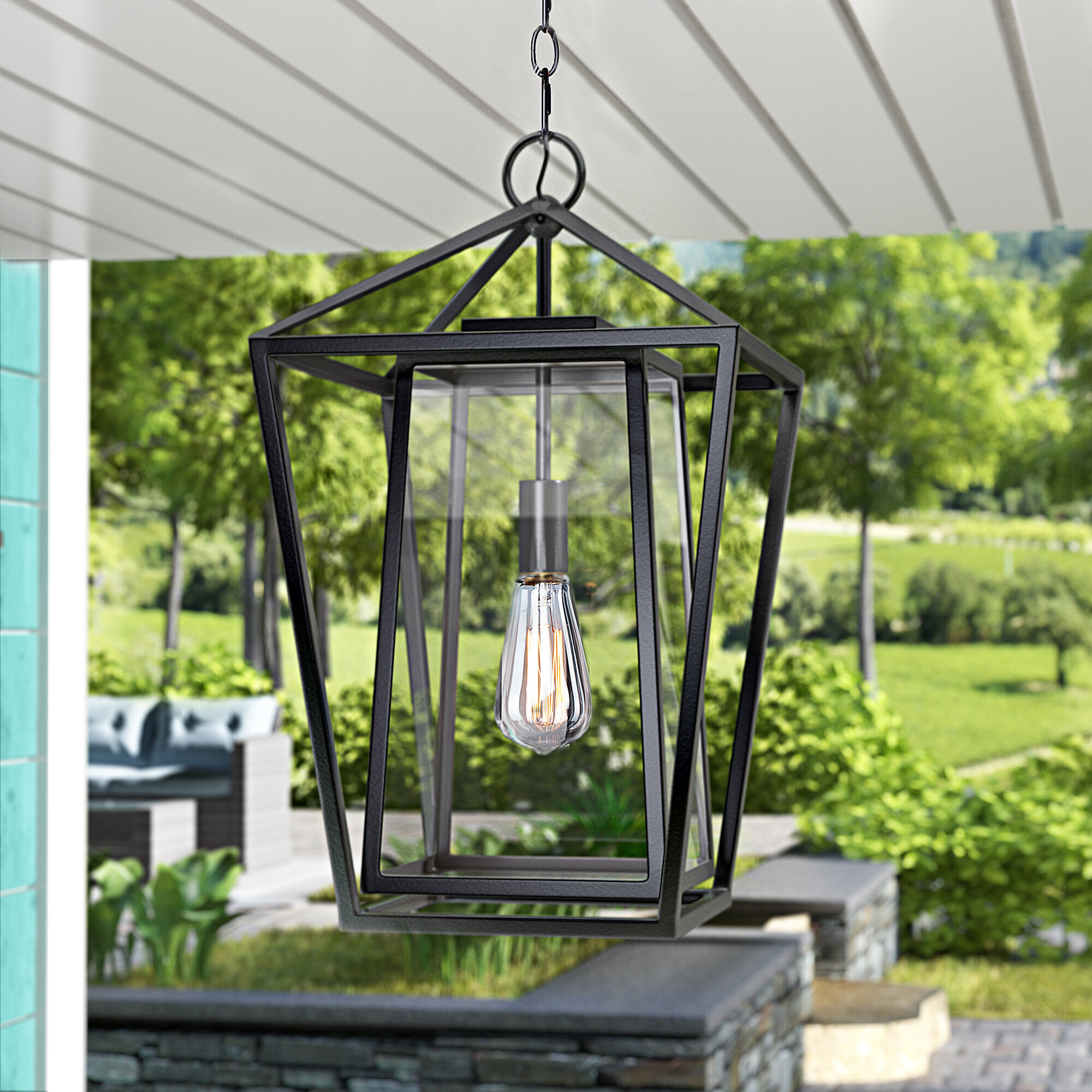 Coastal Farmhouse Maribelle Black 1 Bulb 21 H Outdoor Hanging Lantern Reviews Wayfair