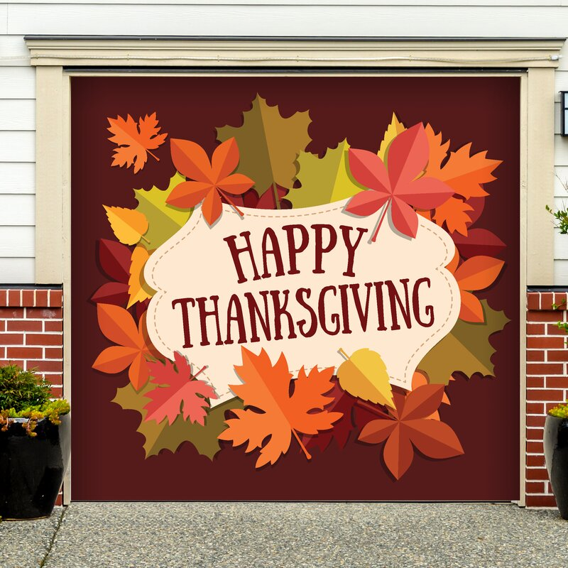 Happy Thanksgiving Fall Leaves Garage Door Mural