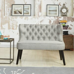 aguayo tufted wing back settee bedroom bench - Backless Sofa