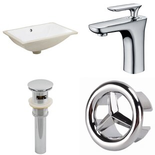 Shopping for CUPC Ceramic Rectangular Undermount Bathroom Sink with Faucet and Overflow By American Imaginations