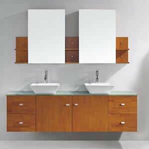 double vessel sink vanity. Clarissa 72  Double Bathroom Vanity Set with Tempered Glass Top and Mirror Vessel Sink Vanities You ll Love Wayfair