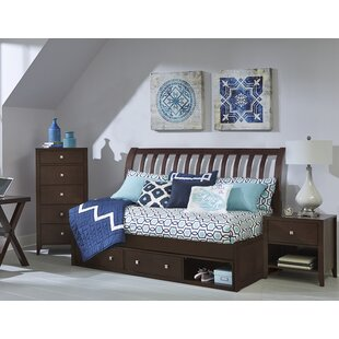Shop For Annapolis Rake Sleigh Twin Daybed with Storage in Chocolate (Set of 5) By Harriet Bee