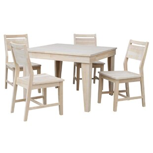 Theodosia Fixed Top 5 Piece Solid Wood Dining Set Highland Dunes